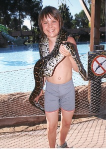 A highly dangerous animal...holding a snake (My son btw)